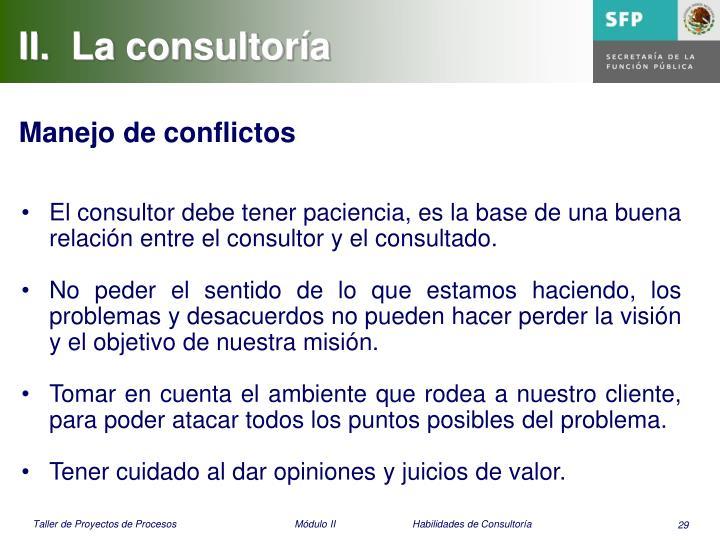 II.  La consultoría