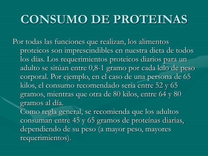 CONSUMO DE PROTEINAS