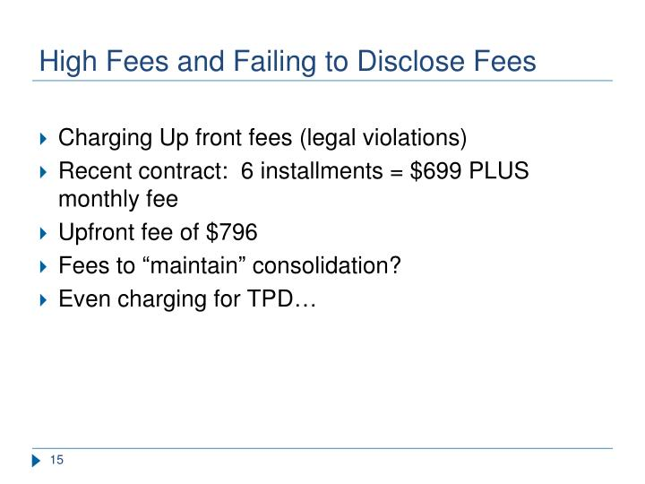 High Fees and Failing to Disclose Fees