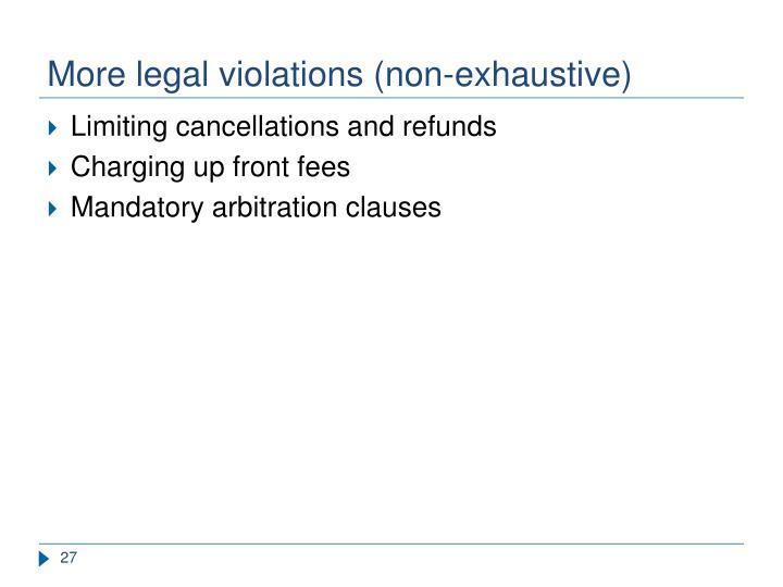 More legal violations (non-exhaustive)