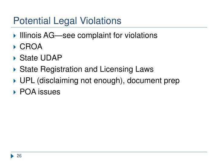 Potential Legal Violations