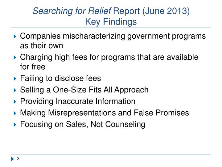 Searching for relief report june 2013 key findings