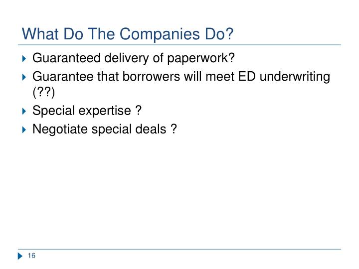 What Do The Companies Do?