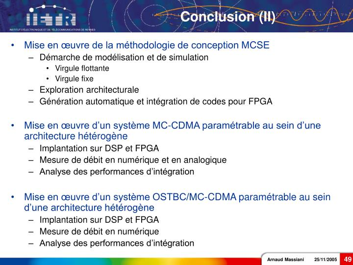 Conclusion (II)
