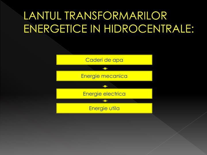 LANTUL TRANSFORMARILOR ENERGETICE IN HIDROCENTRALE: