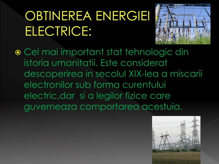 Obtinerea energiei electrice