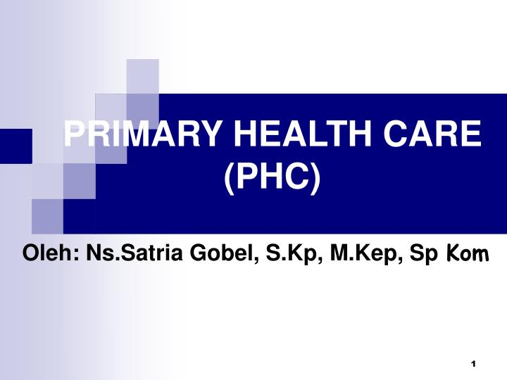 PPT - PRIMARY HEALTH CARE (PHC) PowerPoint Presentation ...