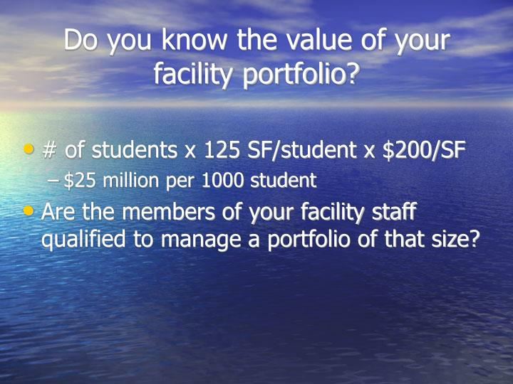 Do you know the value of your facility portfolio?