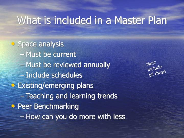 What is included in a Master Plan