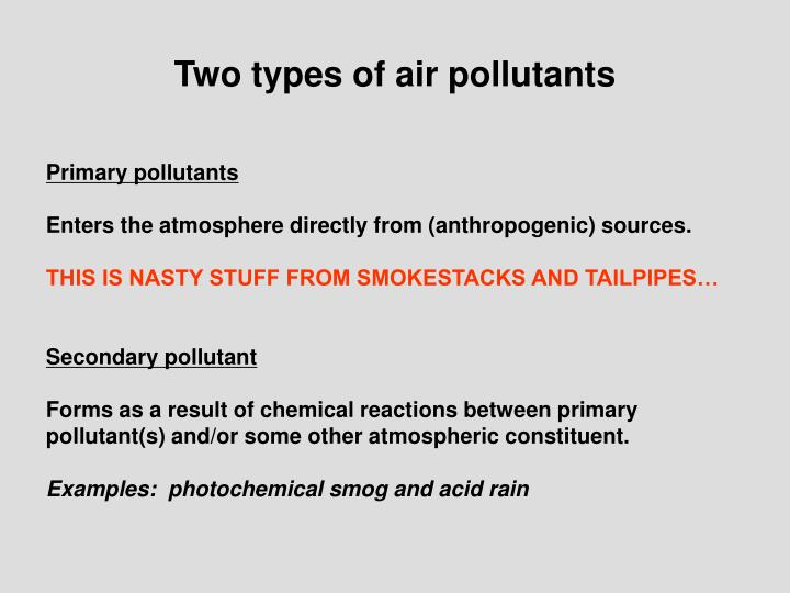 Two types of air pollutants