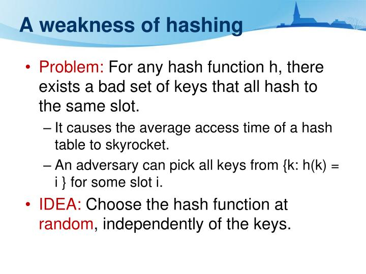A weakness of hashing