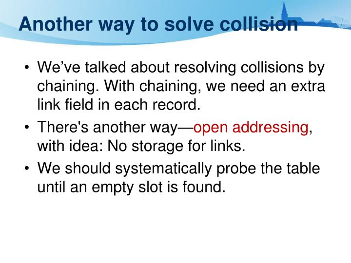 Another way to solve collision