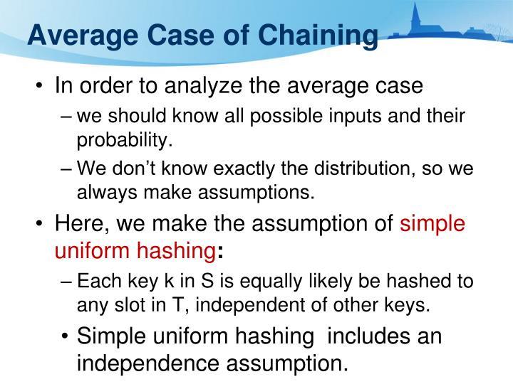 Average Case of Chaining