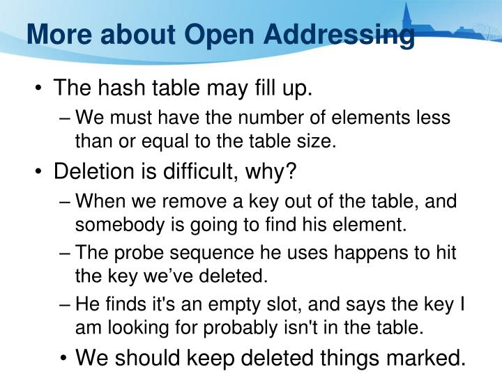 More about Open Addressing