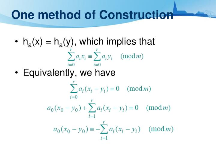 One method of Construction