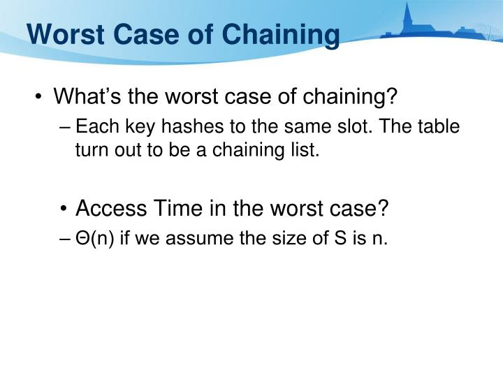 Worst Case of Chaining