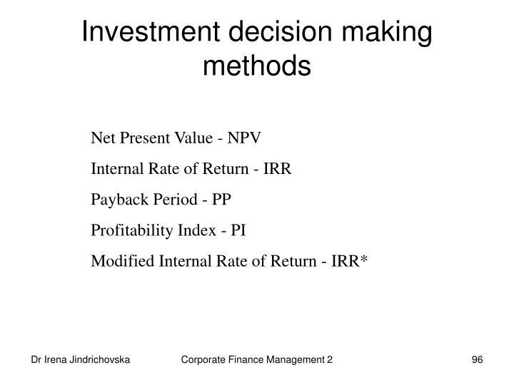 Investment decision making  methods