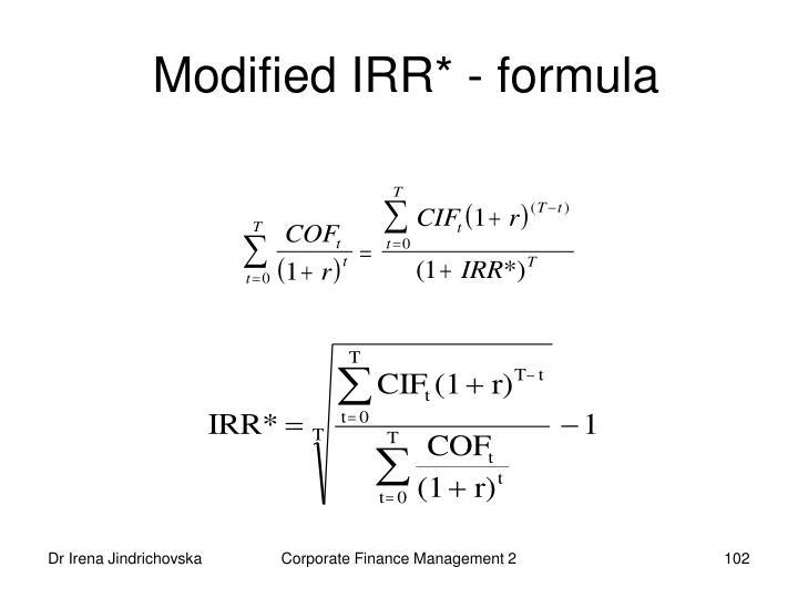 Modified IRR* - formula