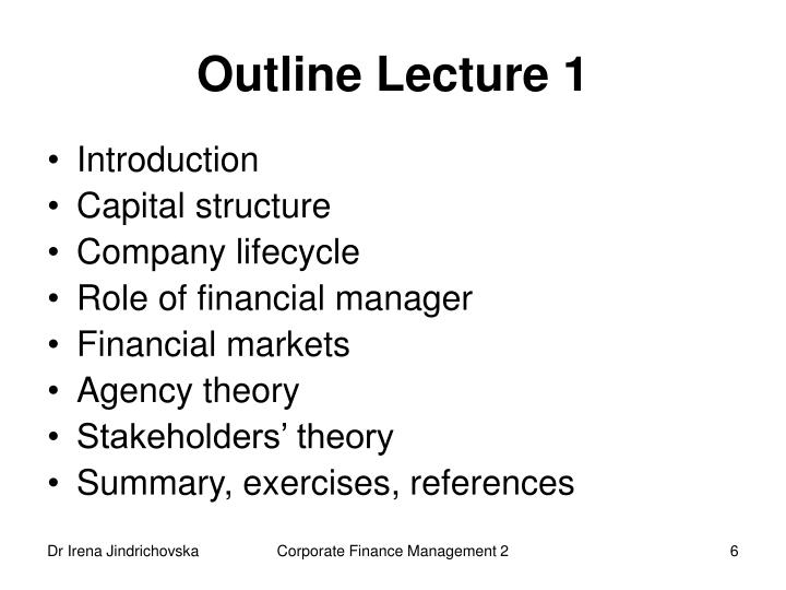 Outline Lecture 1