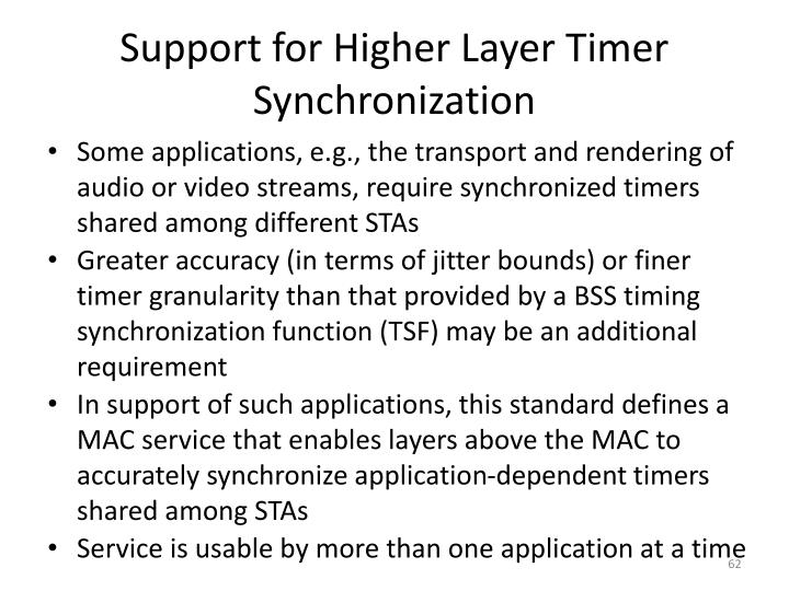 Support for Higher Layer Timer Synchronization