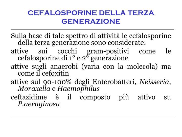 CEFALOSPORINE DELLA TERZA GENERAZIONE