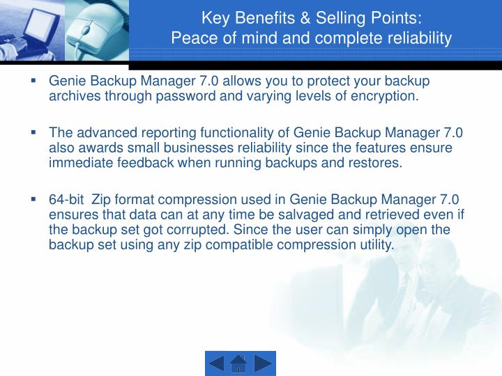Key Benefits & Selling Points: