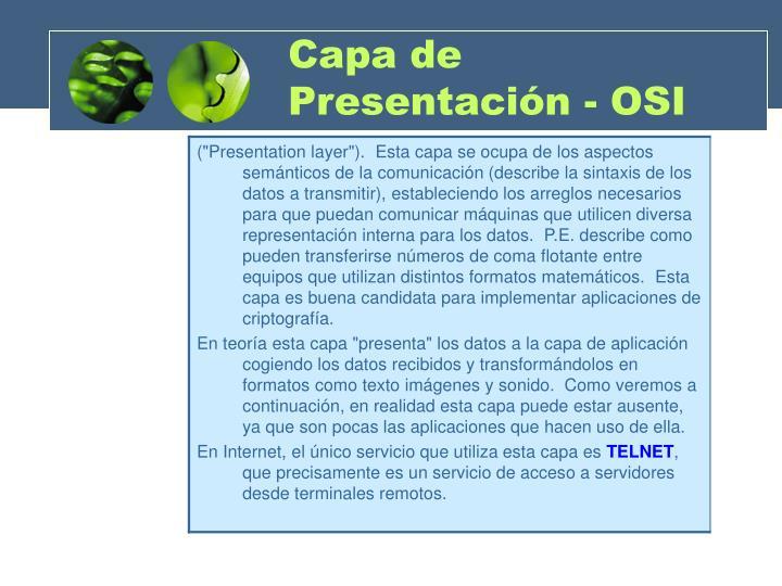 Capa de Presentación - OSI