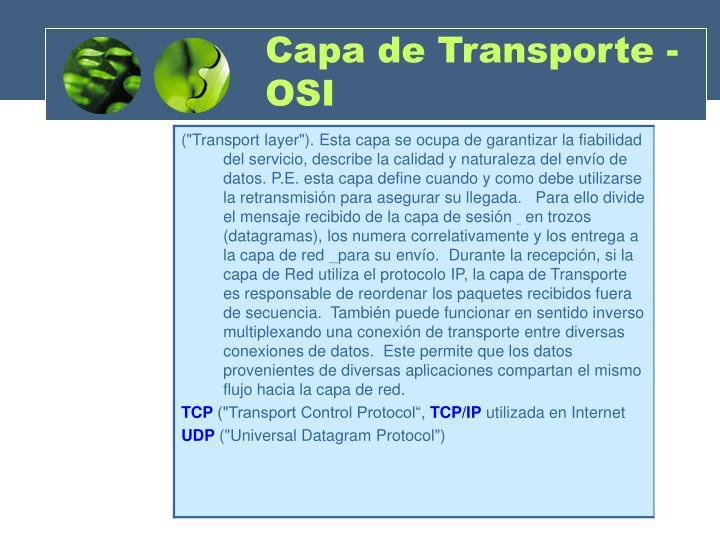 Capa de Transporte - OSI