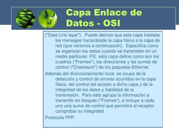 Capa Enlace de Datos - OSI