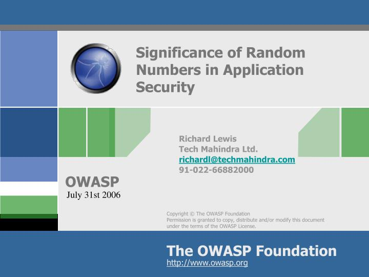 significance of random numbers in application security n.