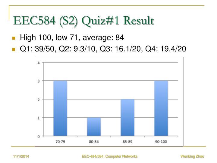 EEC584 (S2) Quiz#1 Result