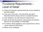 functional requirements level of detail