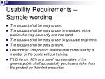 usability requirements sample wording