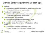 example safety requirements of each type