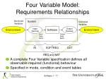 four variable model requirements relationships