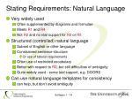 stating requirements natural language