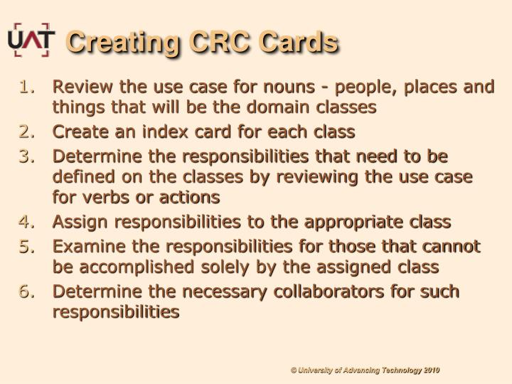 Creating CRC Cards