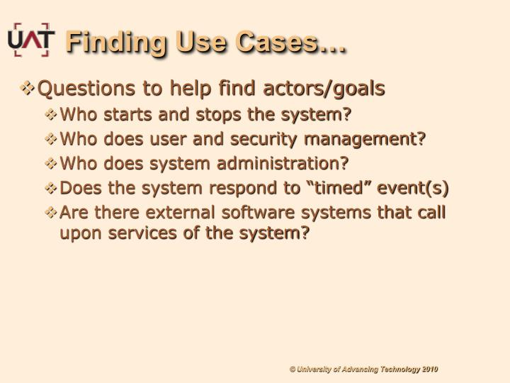 Finding Use Cases…