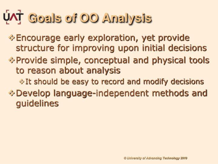 Goals of OO Analysis
