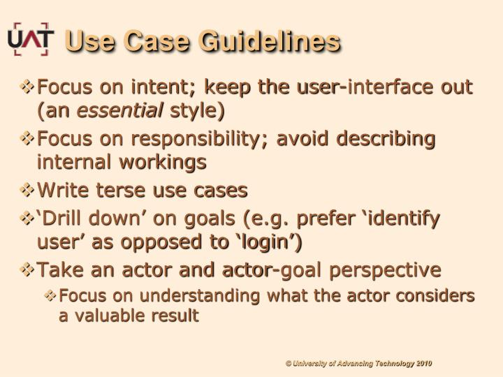Use Case Guidelines