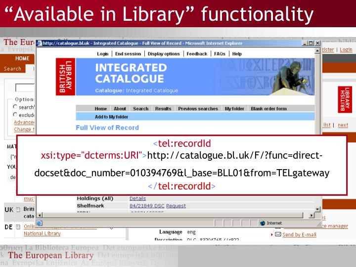 """""""Available in Library"""" functionality"""