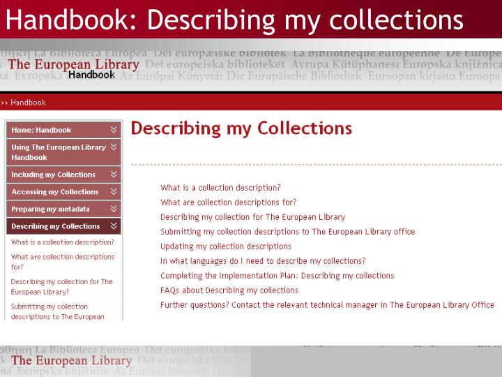 Handbook: Describing my collections