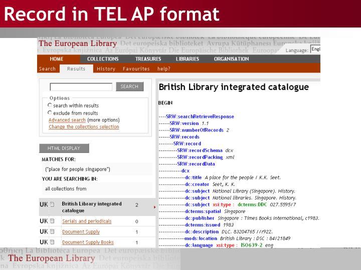 Record in TEL AP format