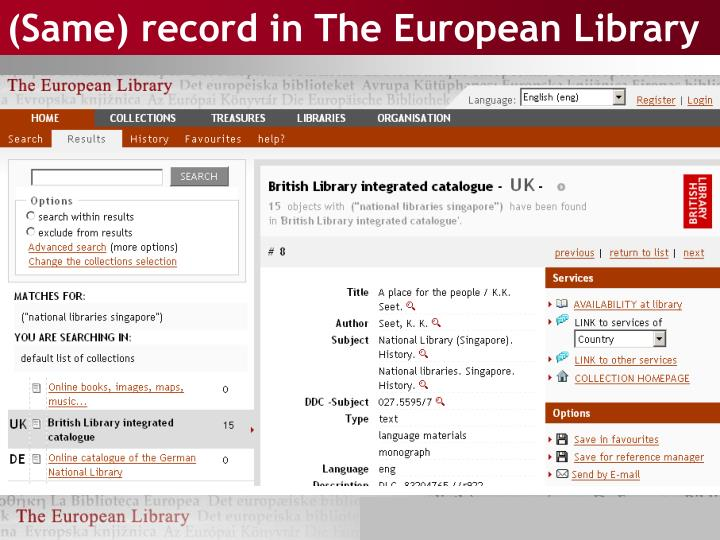 (Same) record in The European Library