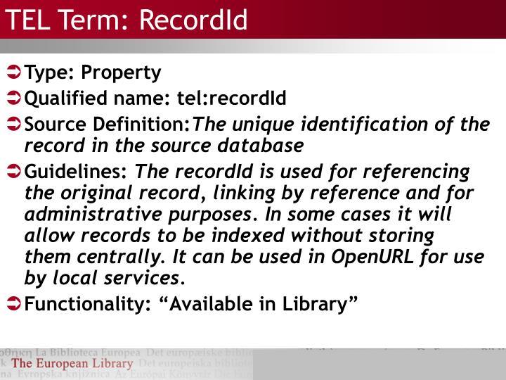 TEL Term: RecordId