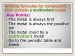 writing formulas for compounds that contain a multivalent metal