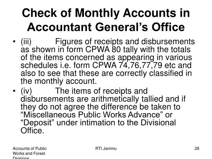 Check of Monthly Accounts in Accountant General's Office