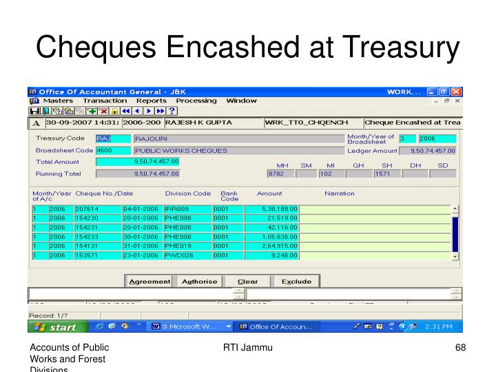 Cheques Encashed at Treasury