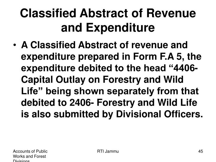 Classified Abstract of Revenue and Expenditure
