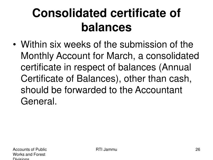 Consolidated certificate of balances